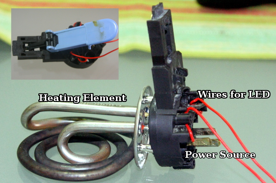 Power source, switch and heating element